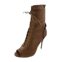 Sergio Rossi Womens Kalhari Woven/Leather Open Toe Booties