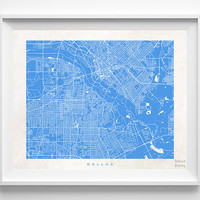 Dallas, Texas, Art, Cute, Pretty, Living Room, Street Map, World, State, Town, Print, Nursery, Poster, Wall Decor, Illustration [NO 490]