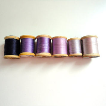 Vintage sewing thread lot of 6 wooden spools in hues of purple