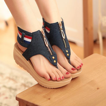 Women Sandals Zip Denim Wedges Sandals Summer Flip Flops Beach Shoes Fashion Platform Sandals
