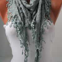 Pastel Blue Shawl and Scarf  Headband - Cowl with Lace Edge -Summer Trends