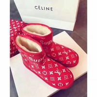 Supreme x LV Women Leather Fur Winter Snow Boots In Tube Boots Shoes