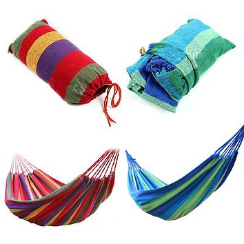 Portable Cotton Rope Hammock Swing Fabric Camping Hammock Canvas Bed