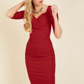 Love Ballad Beauty Sheath Dress in Scarlet | Mod Retro Vintage Dresses | ModCloth.com