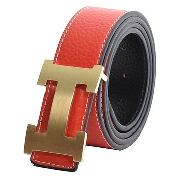 Dinamit Men's H Reversible Leather Belt With Removable Buckle