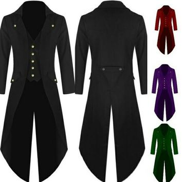 Men's Victorian Vintage Steampunk Tail Coat Jacket