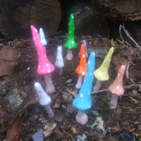 beautiful set of super long gnome mushrooms set of 12 terrarium planter fairy garden pixie garden gnome village favors