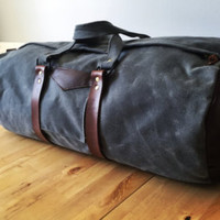 Waxed Canvas and Leather Duffle Bag / Large Weekend Bag/ Grey Overnight Bag/ Travel Tote/