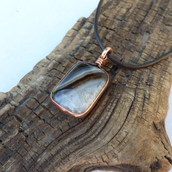 Brown Banded Agate Necklace, Agate and Copper Necklace, Copper and Agate Pendant, ColeTaylorDesigns