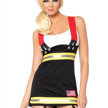Backdraft Babe Garter Dress W/attached Cotton Tank And Suspenders In Black/white