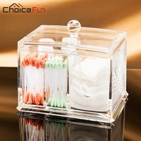 CHOICE FUN Bathroom Transparent Acrylic Cosmetic Cotton Pad Storage Box Cotton Swab Makeup Make Up Organizer For Cotton Pad