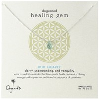 "Dogeared ""Lasting Healing Gems"" Blue Quartz Gold Pendant Necklace, 16"""