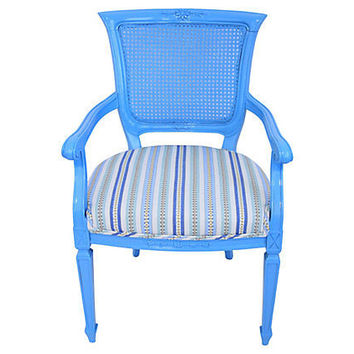 Blue Caned Back Armchair