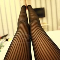 Stylish Solid Color Stripe Perspective Legging For Women