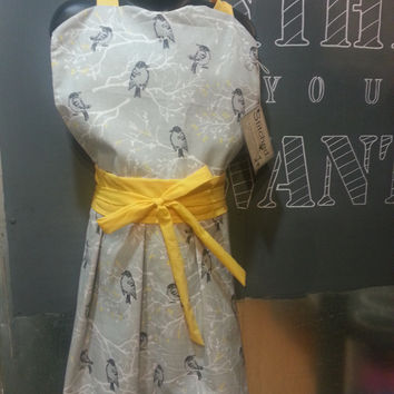 Kids Vintage Inspired Apron Grey Birds with Sunshine Yellow