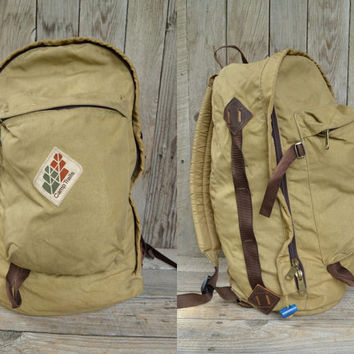 Vintage 70's Camp Trails Brown & Tan Daypack Backpack