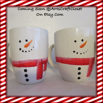 Snowman Mugs - Hand Painted by ME - Awesome Gift for the Kids - Unique - One of a Kind - Holiday Decor-Eggnog Mug-Hot Chocolate Mug-Milk Mug