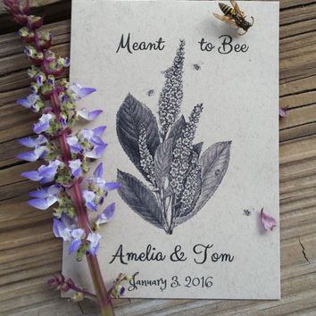 25 Wedding/Bridal Shower Seed Packet favors - Meant to Bee
