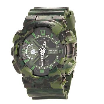 Camouflage Double Display Cold Light Electronic Sport Waterproof Mens Watch