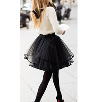 Free Shipping High Waist Tutu Skirt Short Tulle Skirt 2016 Evening Party Skirt Sexy Women Tulle Skirts falda plisada