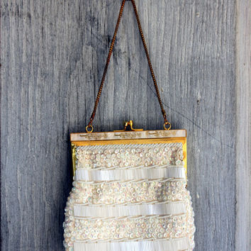 vintage wedding bride's bag // bead and sequin evening bag // beaded purse // pearly inlay // white with gold