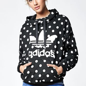 adidas Dots Allover Print Pullover Hoodie - Womens Hoodie - Black