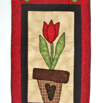 Flower Applique Quilted Wall Hanging