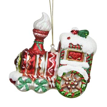 "4.25"" Peppermint Twist Red White and Green Glittered Glass Candy Cane Train Christmas Ornament"