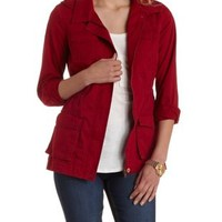 Beet Red Twill Convertible Anorak Jacket by Charlotte Russe