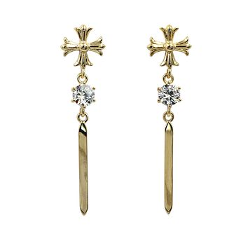 classical cross crystal earrings
