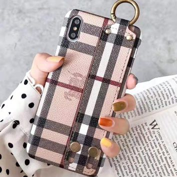Burberry New fashion stripe couple wrist band protective cover phone case