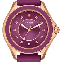 Women's MICHELE 'Cape' Topaz Dial Silicone Strap Watch, 40mm - Berry/ Rose Gold