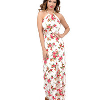 1970s Style Ivory Rose Floral Halter Knit Maxi Dress