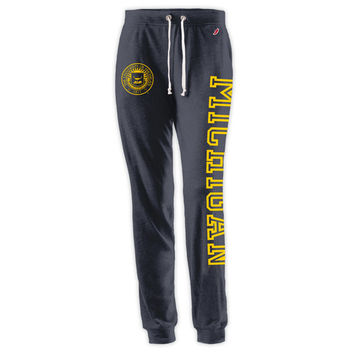League Outfitters University of Michigan Ladies Heather Navy Jogger Pant