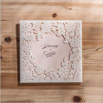 1pcs Sample White Hollow Laser Cut Wedding Invitations Card