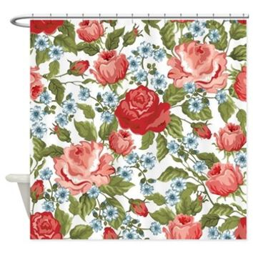 Red Roses Shower Curtain> Roses, Flowers, Petals, Leaves> Strawberry and Hearts