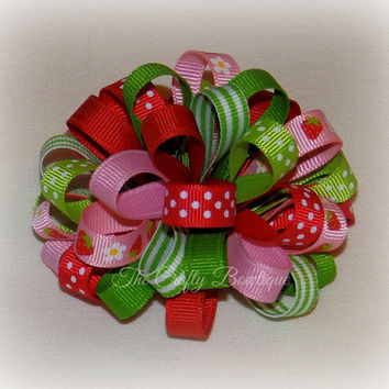Strawberry Hair Bow ~ Red & Green Bow ~ Strawberry Loopy Bow ~ Red and Pink Bow ~ Small Loopy Bow ~ Loopy Headband Bow ~ Red Strawberry Bow