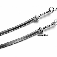 "TRASHGLAM Walking dead 5"" long Katana Sword Earrings Michonne Zombie Apocalypse"