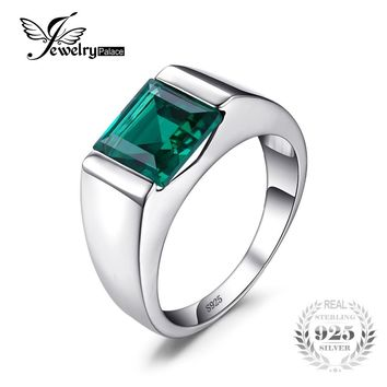 2.34ct Emerald Wedding Ring For Mens Set In Genuine 925 Solid Sterling Silver Fine Jewelry
