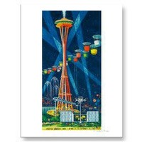Space Needle Worlds Fair Poster Postcards