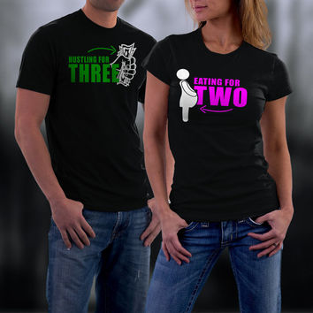 Baby Announcement, Pregnancy Announcement, Eating For Two Matching Shirt, Couples Shirts, His and Her Shirts, Wedding Anniversary Gift