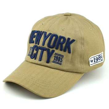 Fashion Embroidery New York City Baseball Cap Men Cotton Dad Hats Women Snapback Hat Curved Ball Cap USA Distressed