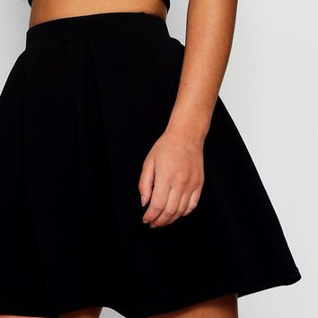 Petite Box Pleat Skater Skirt | Boohoo