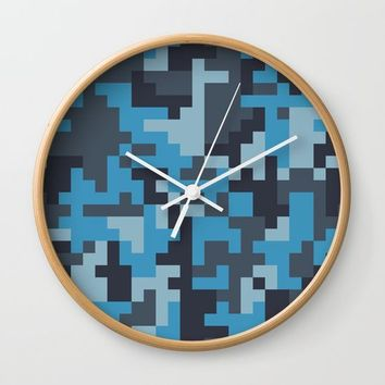 Blue and Grey Pixel Camo pattern Wall Clock by PRODUCTPICS