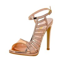 Sand Stiletto Buckle Closure Sandals