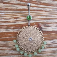 Belly Button Ring - Body Jewelry - Green Beaded Charm with a Green Gem Belly Button Ring