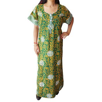 Mogul Womens Cotton Green Printed Maxi Caftan Sleepwear Cover Up Nightwear Holiday House Dress - Walmart.com
