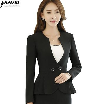 New fashion long sleeve V-neck blazer women slim formal business Double Breasted jacket office ladies plus size work wear coat