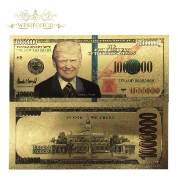 Wishonor 10Pcs/Lot Colorful USA Trump Banknotes 1,000,000 Dollar Bills Banknote in 24K Gold Plated Paper Money For Gifts