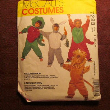 SALE Uncut 1994 McCall's Sewing Pattern, 7223! 2-3-4 Toddler/Girls/Boys/Kids/Child/Barney Halloween Costumes/Baby Bop/Dinosaurs/Lion/Bunny/J